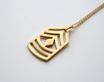 Vintage Brass Chevron Necklace. Geometric Jewelry. Unique Gift for Him or Her. Layering Necklace. Military Symbol. FREE Shipping in US