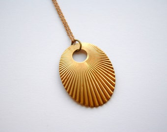 Vintage Oval Sunburst Necklace. Geometric Jewelry. Boho Chic Style. Gift for Her. FREE Shipping in US