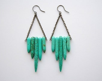 Turquoise Shield Earrings. Natural Stone Fringe Dangles. Howlite Point Daggers. Boho Chic Jewelry. Large Dramatic Drops. FREE Shipping in US