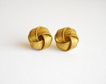 Textured Brass Earrings. Knot Earrings. Gifts for Mom. Gifts for Girlfriend. Love Knot Earrings. Simple Gold Earrings. FREE Shipping in US