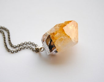 Raw Citrine Crystal Necklace - Medium - Silver Plated - FREE US Shipping