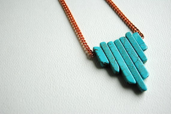 Turquoise Statement Necklace - Handmade Jewelry - Free Shipping in the US