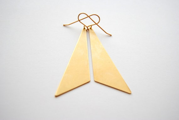 RESERVED for Grace - Gold Triangle Earrings - Handmade Jewelry - Free Shipping in the US