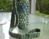 Crochet water bottle  holder in avocado  green, crochet bottle carrier - choose your size