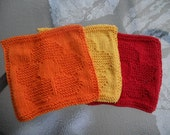 Set of three dish cloth  wash cloth - Flowers - Orange Yellow and Red