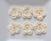 Crochet flower appliques - in ivory cream - double layer - 5 petals wedding
