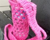 Crochet water bottle carrier holder - hot pink fuchsia - crochet bottle cover