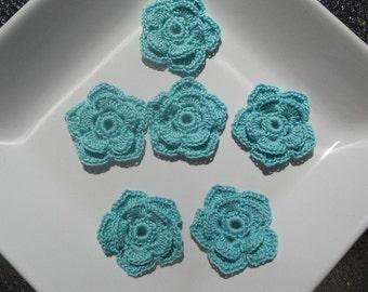 Crochet flower in aqua teal - double layer - 5 petals crochet applique