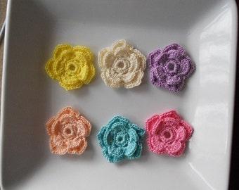Pastels double layer crochet flowers, crochet flower appliqué, set of 6