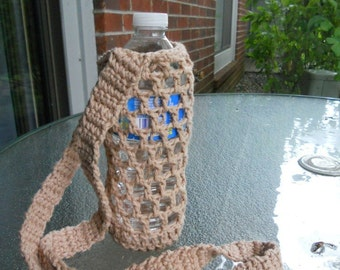 Crochet water bottle  holder - beige, light brown, crochet bottle carrier