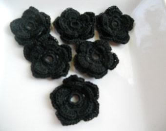 Crochet flower in black - double layer crochet flower appliqué - black flower