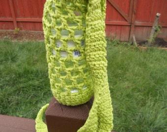 Crochet Water bottle carrie holder in lime green