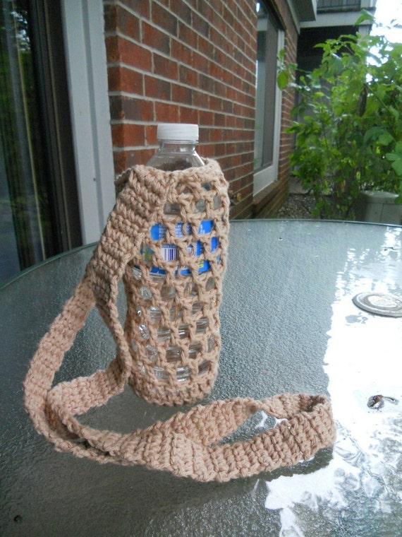 Crochet water bottle carrier holder - beige light brown
