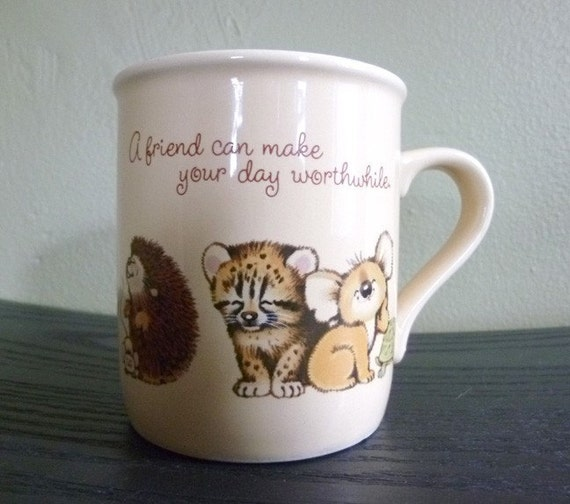80s Mug Mates - adorable baby animals - friendship mug - TREASURY ITEM