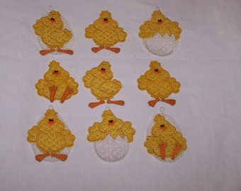 Adorable Lace Easter Chicks-Set of 9