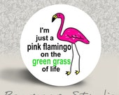 I'm Just a Pink Flamingo on the Green Grass of Life - PINBACK BUTTON or MAGNET - 1.25 inch round