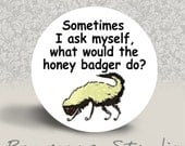 Sometimes I Ask Myself, What Would the Honey Badger Do - PINBACK BUTTON or MAGNET - 1.25 inch round