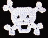 PDF Crochet Pattern for Skull with Crossbones Applique- Permission To Sell Finished Items
