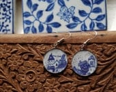 Blue Houses Illustrated Earrings - Silver