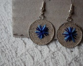 Blue Cornflower Embroidered Linen Earrings - Round