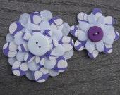 Purple Gumdrops  Big Sister Little Sister Flower Set of 2 Fabric Felt Appliques for Hair Clips or Scrapbooking