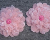 Light Pink Flowers Set of 2 Lace Felt Appliques Flowers for Hair Clips or Scrapbooking 3 inch size