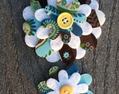 Brown Teal Floral Big Sister Little Sister Flower Set of 2 Fabric Felt Appliques for Hair Clips or Scrapbooking