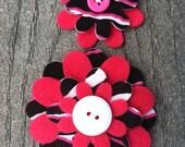 Pink Zebra Big Sister Little Sister Flower Set of 2 Fabric Felt Appliques for Hair Clips or Scrapbooking