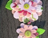Pink with a hint of gold Big Sister Little Sister Flower Set of 2 with leaves Fabric Felt Appliques for Hair Clips or Scrapbooking