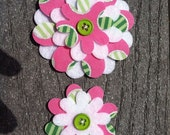 Geometric preppy Big Sister Little Sister Flower Set of 2 Fabric Felt Appliques for Hair Clips or Scrapbooking