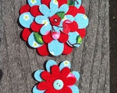 Cherries Big Sister Little Sister Flower Set of 2 Fabric Felt Appliques for Hair Clips or Scrapbooking