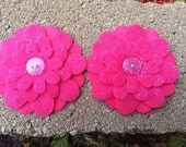 Hot Pink Glitter Tulle Flowers  Set of 2 Fabric Felt Appliques Flowers for Hair Clips or Scrapbooking 3 inch size