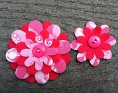 Pink Swirly Big Sister Little Sister Flower Set of 2 Fabric Felt Appliques for Hair Clips or Scrapbooking
