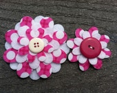 Pink Spots Big Sister Little Sister Flower Set of 2 Fabric Felt Appliques for Hair Clips or Scrap-booking