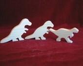 Tyrannosaurus Rex (T-Rex) Dino Family of Unfinished Pine Cutouts