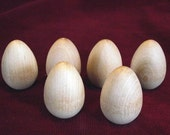 6 Wooden Robin Eggs  1 -3/4 inch with flat bottom