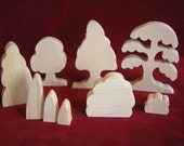 Tree and Shrub Assortment, 9 piece  Unfinished Pine Cutouts