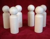6 of No. 4 Tall Man Unfinished Hardwood Peg Doll