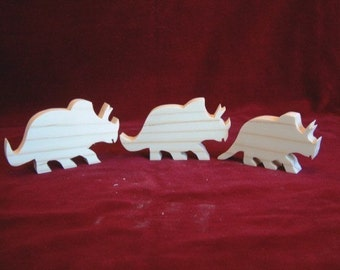 Triceratops (3 Horned Face) Dino Family of Unfinished Pine Cutouts