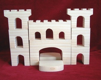The Fortress Blocks, 10 Piece Unfinished Pine Cutouts