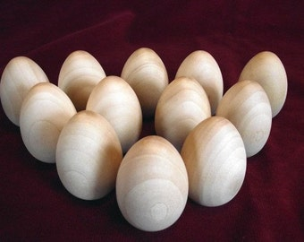 12 Wooden Hen Eggs 2-1/2 inch with flat bottom, Commercial Hardwood turning