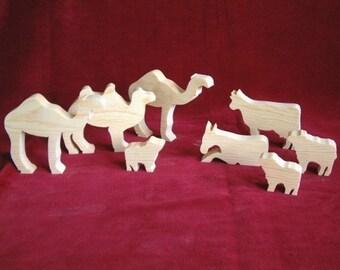 Nativity Animals, Unfinished Pine Cutouts