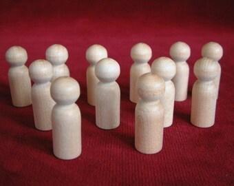 12  No. 8 Small Boy Peg Dolls Unfinished Hardwood