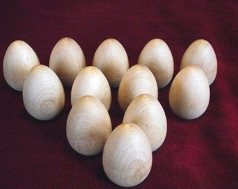 12 Wooden Robin Eggs 1 -3/4 inch with flat bottom