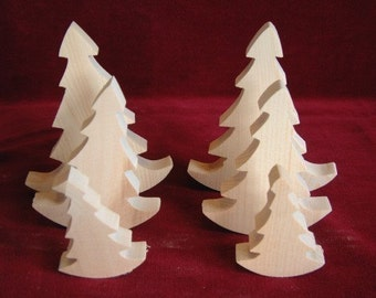 Set of 6 Rock and Roll Pine Trees from the Fairy Forest, Unfinished Pine Cutouts