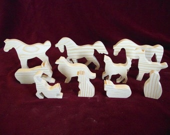 Farm Set 3, Horses, Dogs, Cats and a Barn Owl,  Unfinished Pine Cutouts