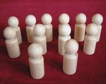 12 No. 5  Large Boy or Man Peg Dolls Unfinished Hardwood