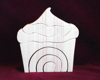 Little Stacker, Cup Cake or Ice Cream Cone, Unfinished Pine