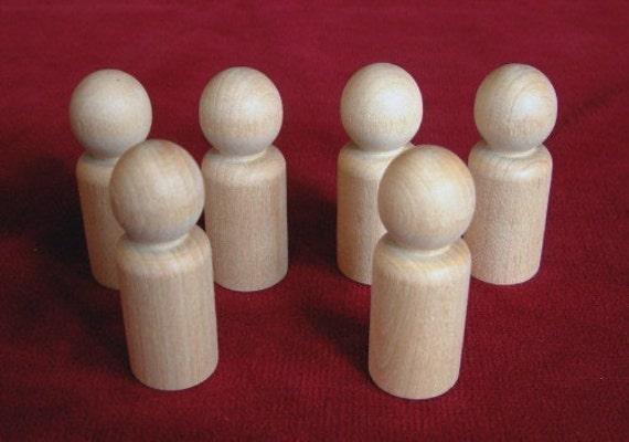 6 No. 5 Large Boy or Man Peg Dolls Unfinished Hardwood