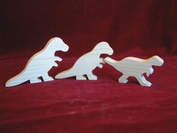 Tyrannosaurus Rex (T-Rex) Dino Family of Unfinished Pine Cutouts